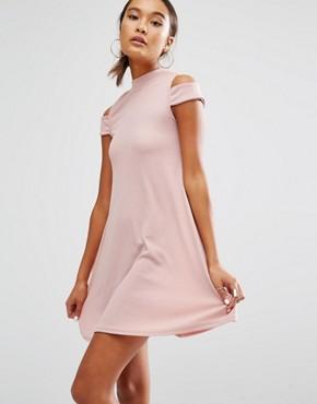 Daisy Street - Hochgeschnittenes Kleid mit Schulterausschnitten - Altrosa