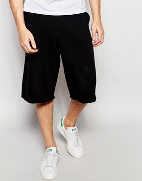 ASOS - Jersey-Shorts mit ungesäumter Kante - Schwarz