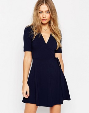 ASOS - short leisure dress with wrap look - navy blue