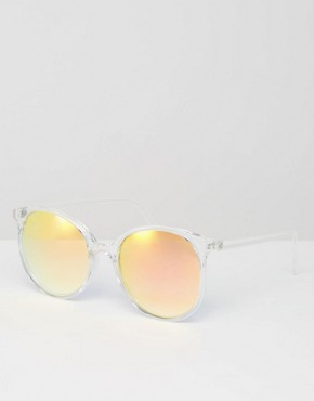 ASOS - round Oversized-sunglasses with narrow frame - transparent