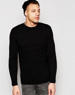 ASOS - unterschiedlich gerippter Pullover - Schwarz