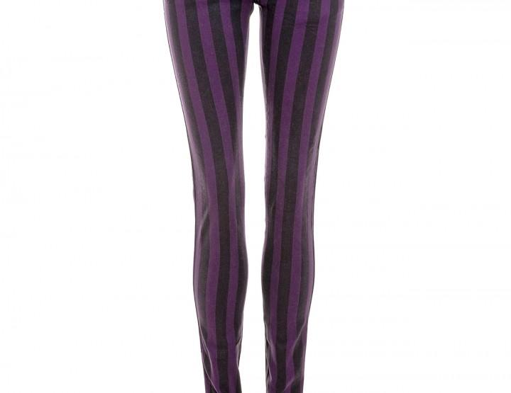 Gestreifte Skinny Jeans - black/purple