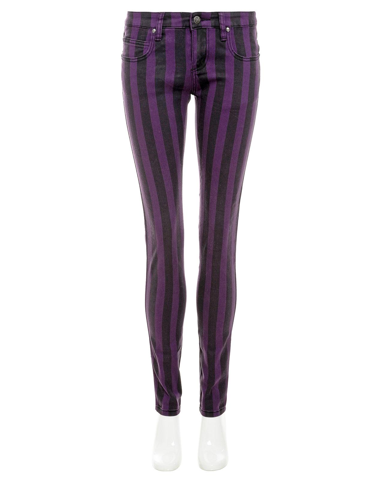 Gestreifte Skinny Jeans - black/purple | Read-The-Trieb