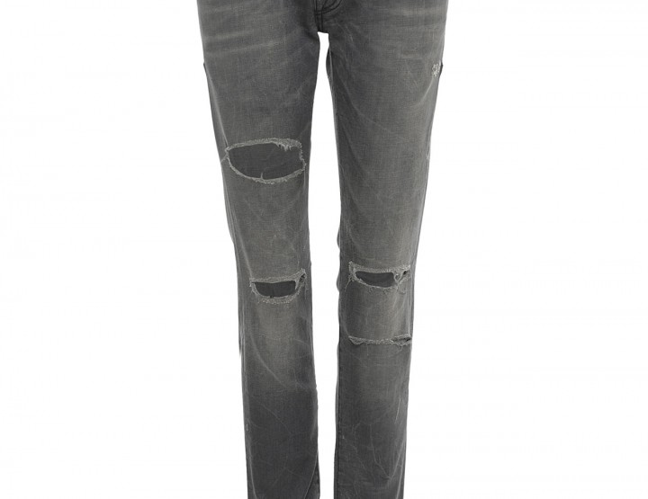 Distressed Hi-Rise Jeans - dark grey