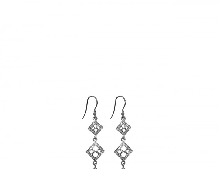 Oxidized sterling silver Pav diamond earrings Rope Morrocan