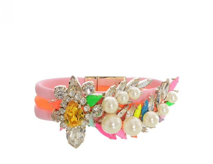 Pink-orange rubber-swarovski bracelet Aigrette