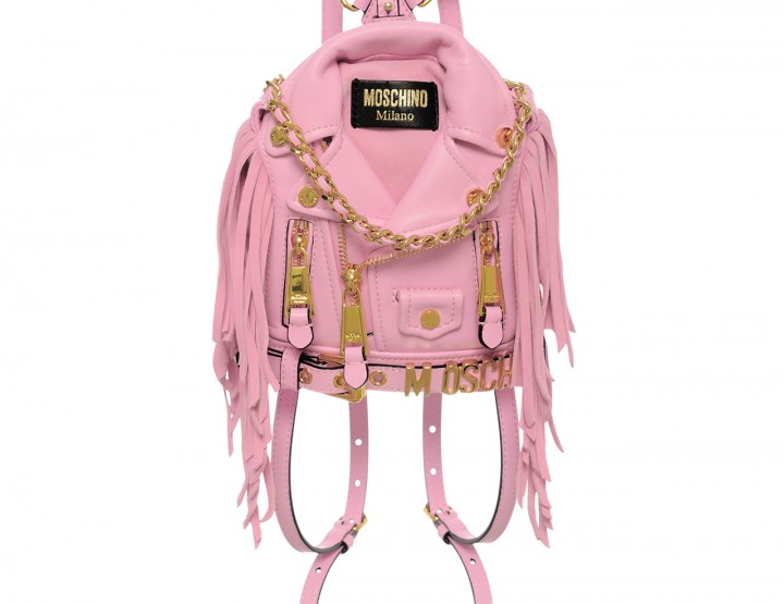 Mini leather backpack biker-style - pink