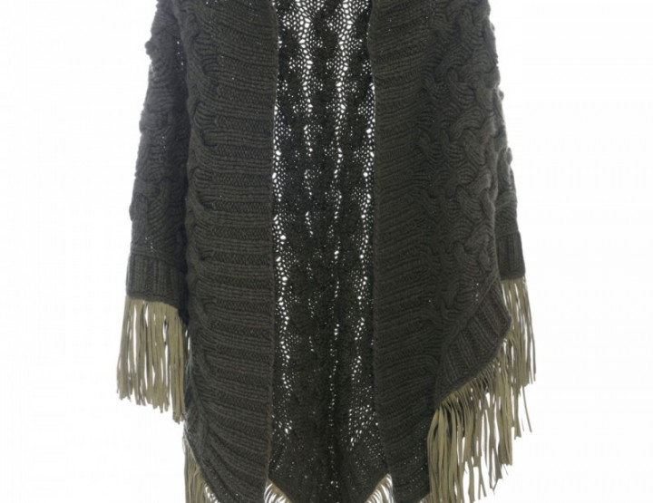 Chunky knit stole with fringes Camoscio - military green