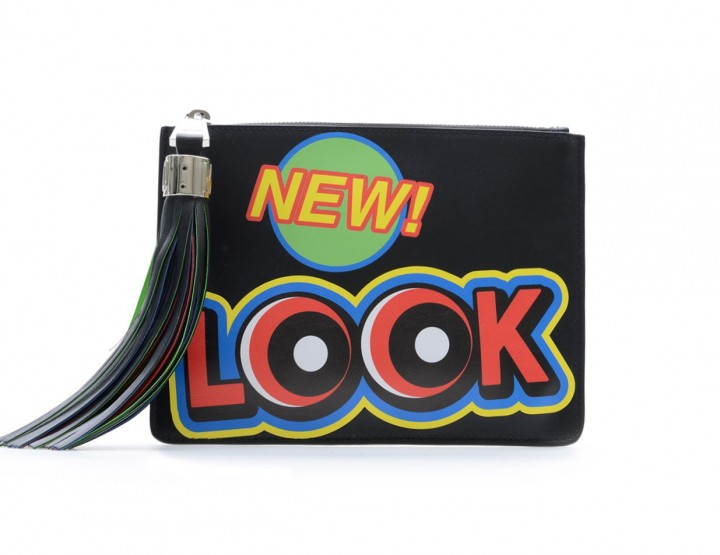Lederbeutel Clutch mit Multicolor Print New Look