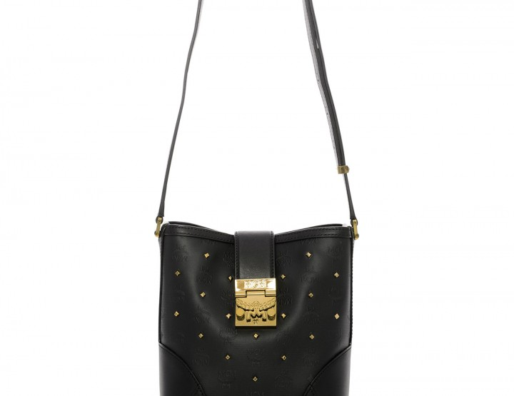 Black shoulder bag Claudia Allover with decorative rivets small