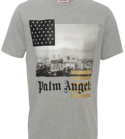 Rundhals T-Shirt mit Glitzer-Details - grau