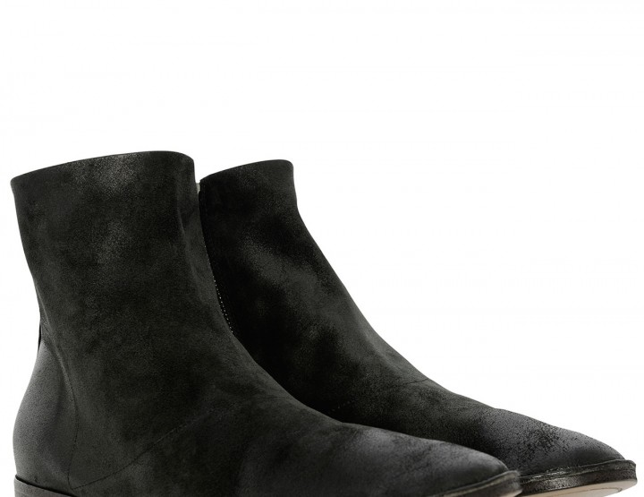 Black goatskin leather bootees Marsacco