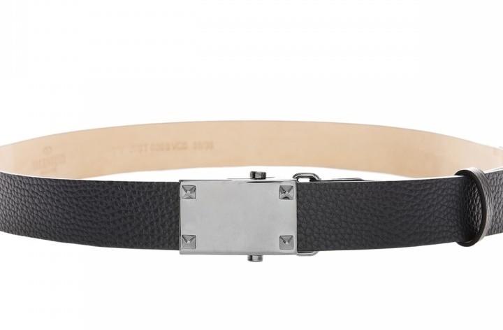 Grained calfskin belt black gunmetall