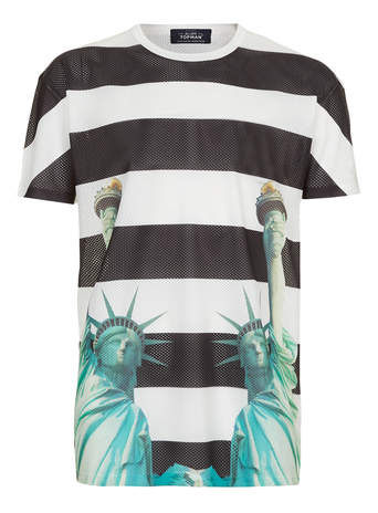 WHITE STRIPED PRINTED MESH T-SHIRT