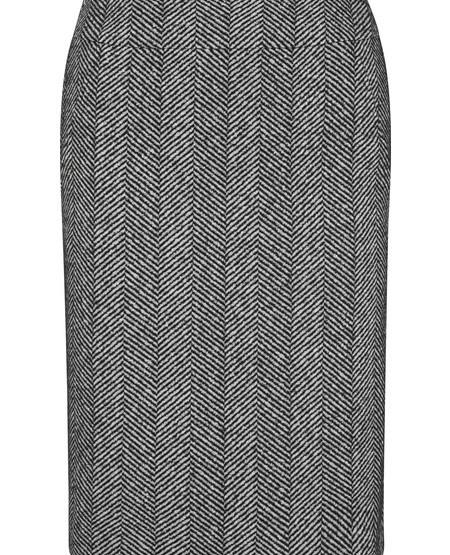 Fishbone-jersey sheath skirt
