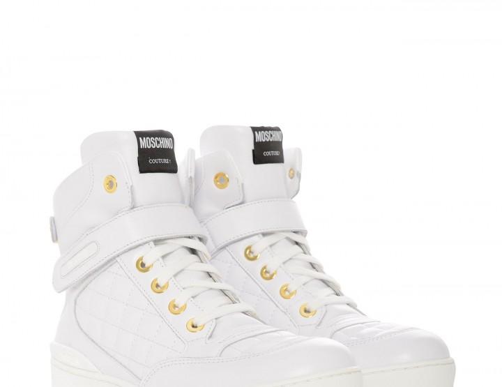 Gesteppte Ledersneaker - weiß/gold
