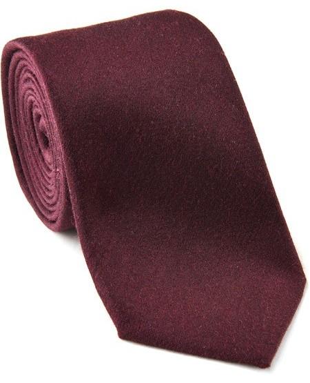 Uni-farbene Krawatte aus Wolle-Seide-Mix