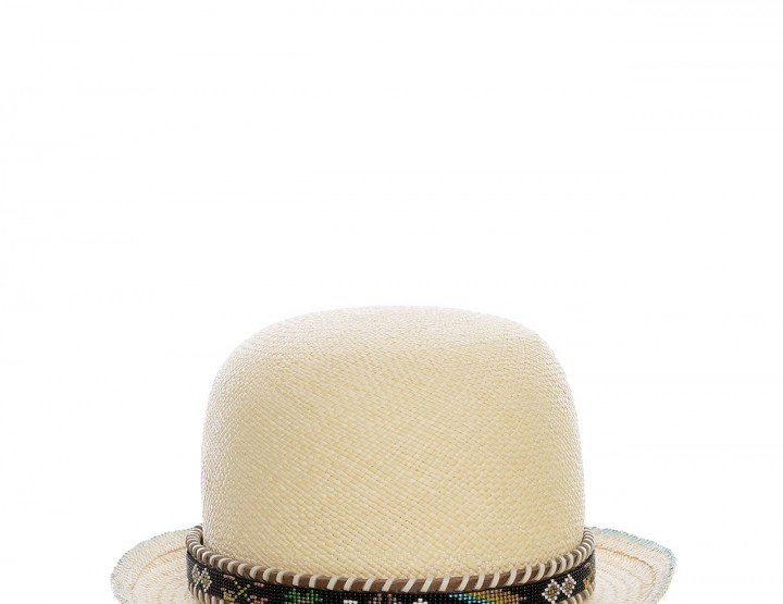Straw bowler with beads embellishment