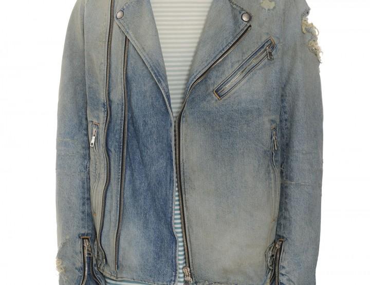 Distressed Jeansjacke vintage - blau