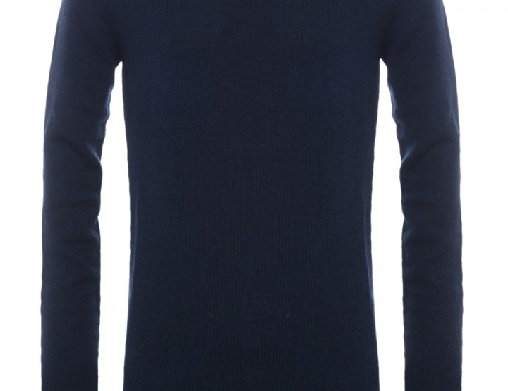 Dunkelblauer Stehkragen-Pullover