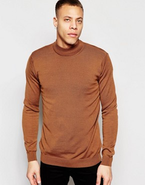 Weekday - Brady - Knitted pullover with half-height collar - brown
