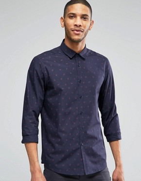 ASOS - Shirt with navy blue Paisley-print regular fit - navy blue