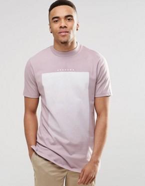 ASOS - Langes T-Shirt mit Text-Print und breitem Ausschnitt - Violett