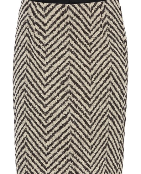 Herringbone-jaquard sheath skirt