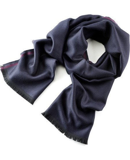 Woven wool scarf with contrast stripes