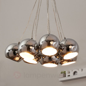 10-flame hanging lamp Pepa - chrome
