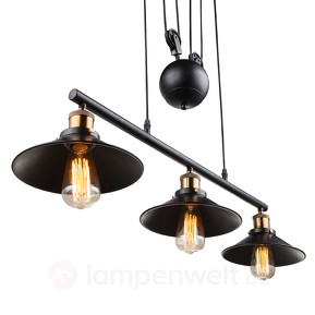 3-flame pendant luminaire Viktor - height-adjustable