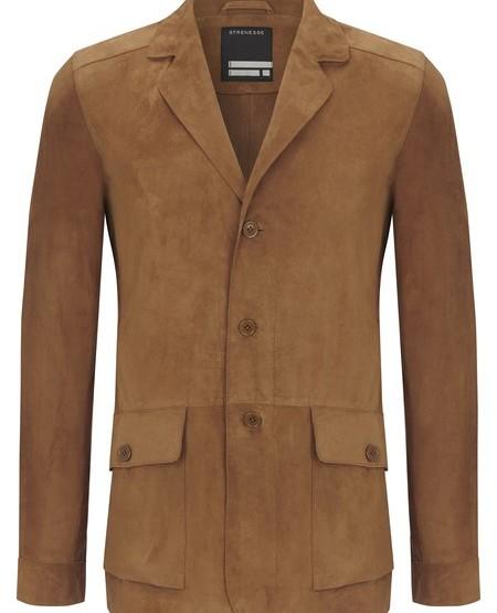 Nubuk leather blazer jacket
