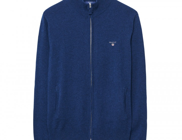 GANT  lambswool cardigan with zipper for men - Blue