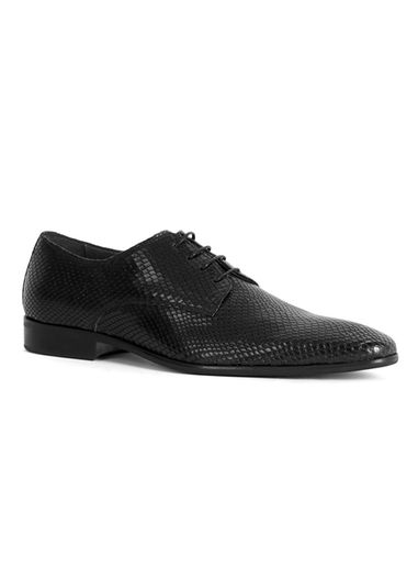 snake skin style derby shoes - black