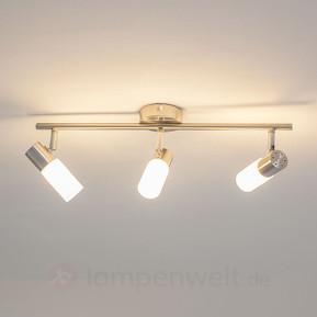 Nickelfarbene LED-Deckenleuchte Tamia, 3-fl.