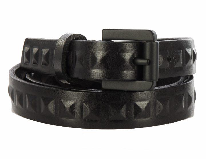 Royal Republiq narrow leather belt with rivets - black