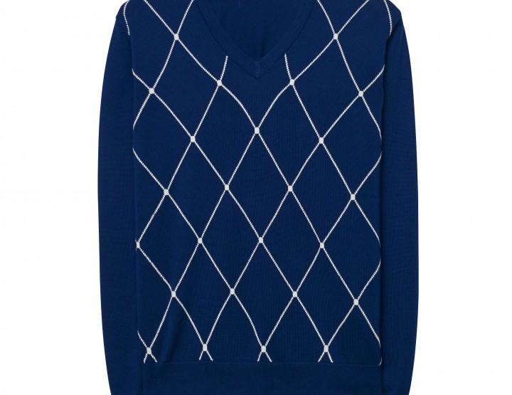 GANT Herren Argyle V-Neck Pullover (M) Blau