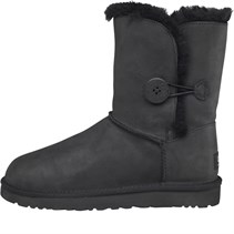 UGG Australia Damen Bailey Button Leather Stiefel Schwarz