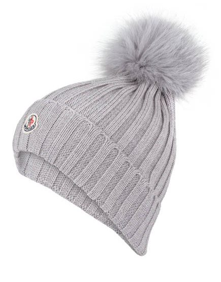 MONCLER beanie with fur pompon