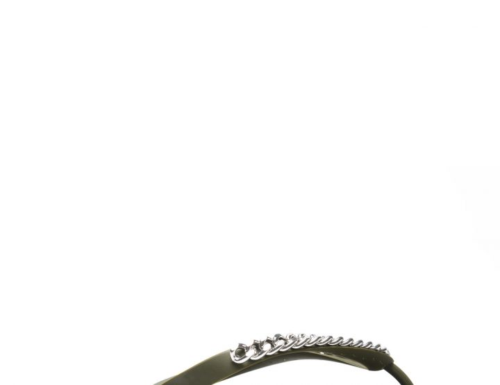Khaki beach sandals with silver chain details