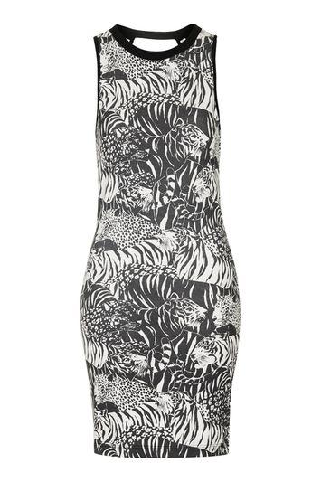 Minikleid mit Tiger-Print und Aussparung Petite - Multi