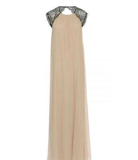 Silk maxi dress with lace - nude