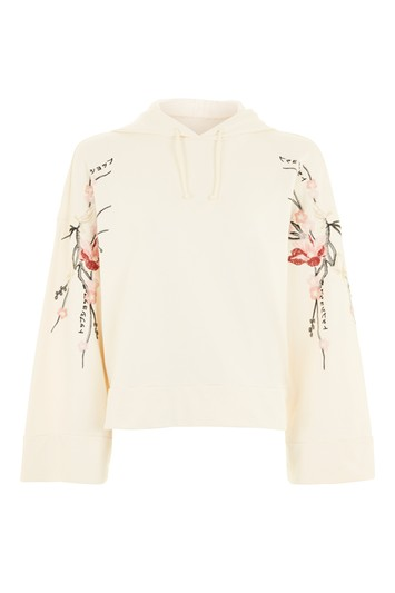 Embroidered hoodie - creme