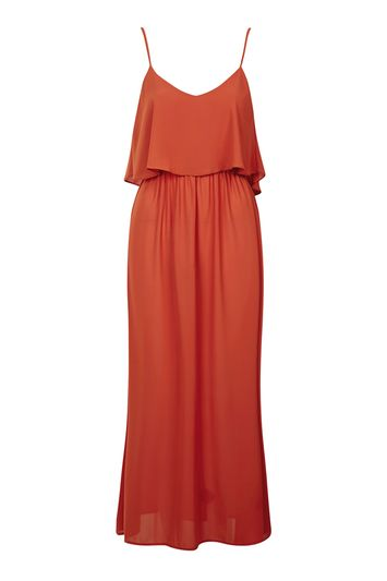 Maxi strap dress with ruffles by Oh My Love - Orange