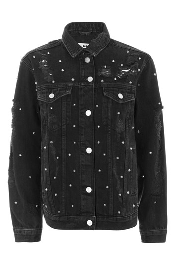 MOTO oversized jacket with rivets - washed out black