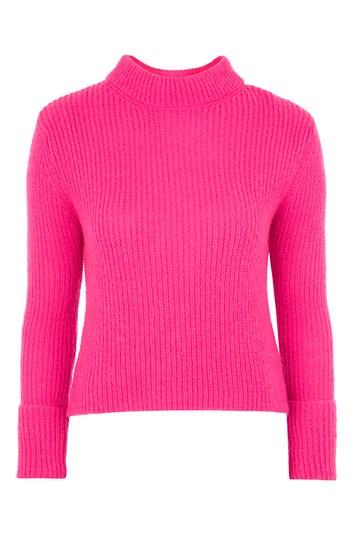 Pulli mit erhabenem Strickmuster und umgeschlagenen Ärmeln - Bright Pink