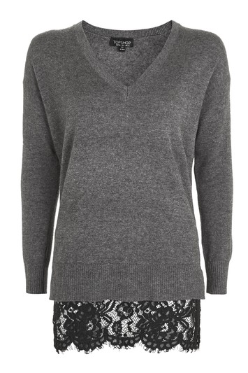 Hybrid sweater with lace - anthrazit motted
