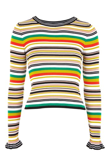 Short striped knitted sweater - multi