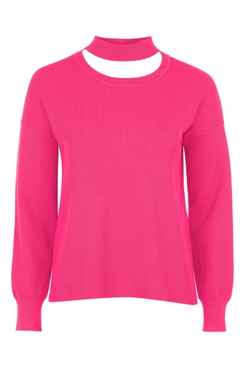 Choker-weater with round neck - pink