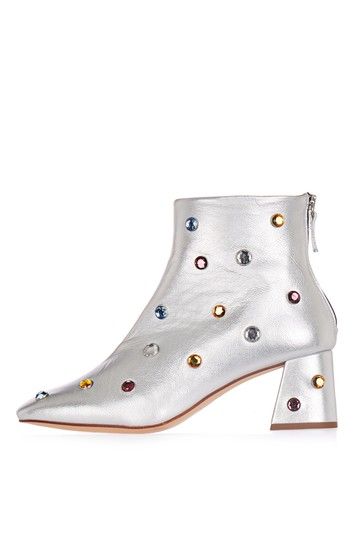 MISTLE TOE Ankle boot with rivets - silver